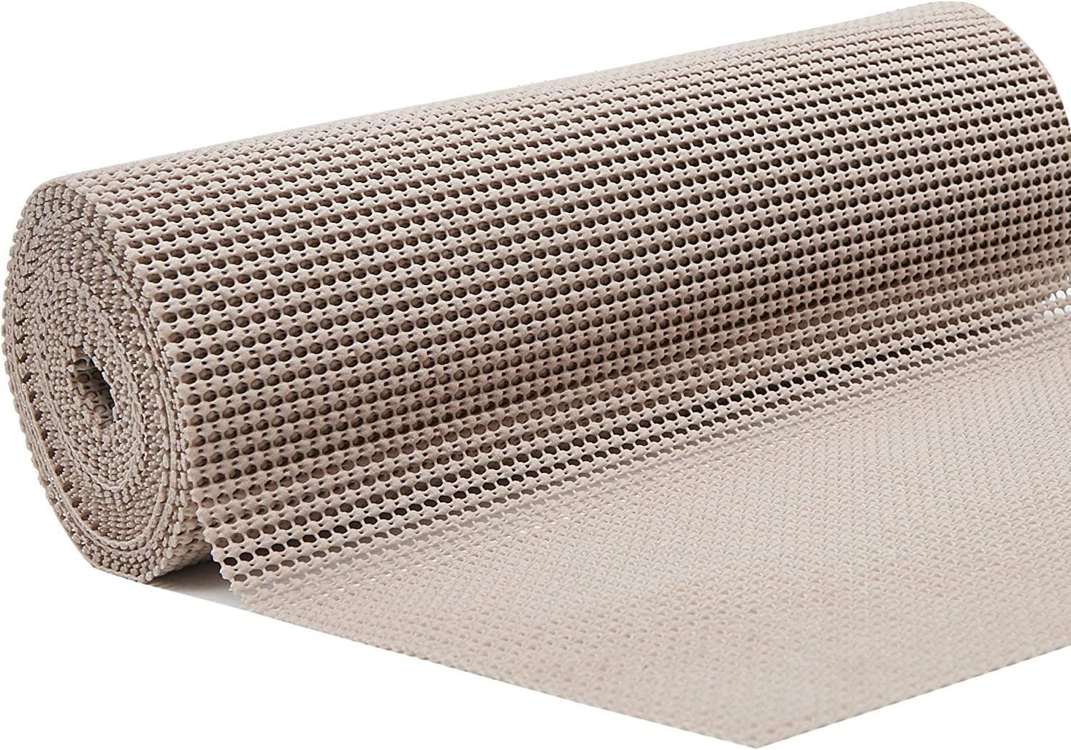 """DOLOPL Grip Shelf Liner Beige Shelf Liners Drawer and Shelf Liner Non Adhesive Durable Cuttable 12"""" x16' for Kitchen Cabinets,Shelves,Drawers,Suitcase,Refrigerator(Pack of 1)"""