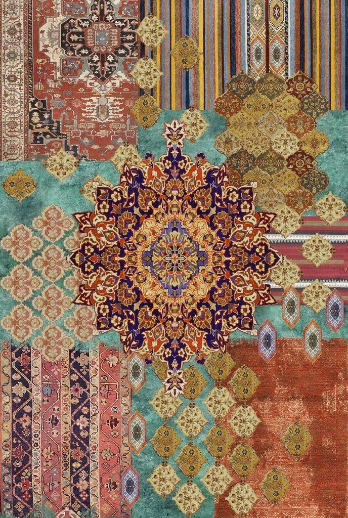 Vilber Bohemian Nomad Teppich, Vinyl, Mehrfarbig, 75 x 120 x 0.2 cm