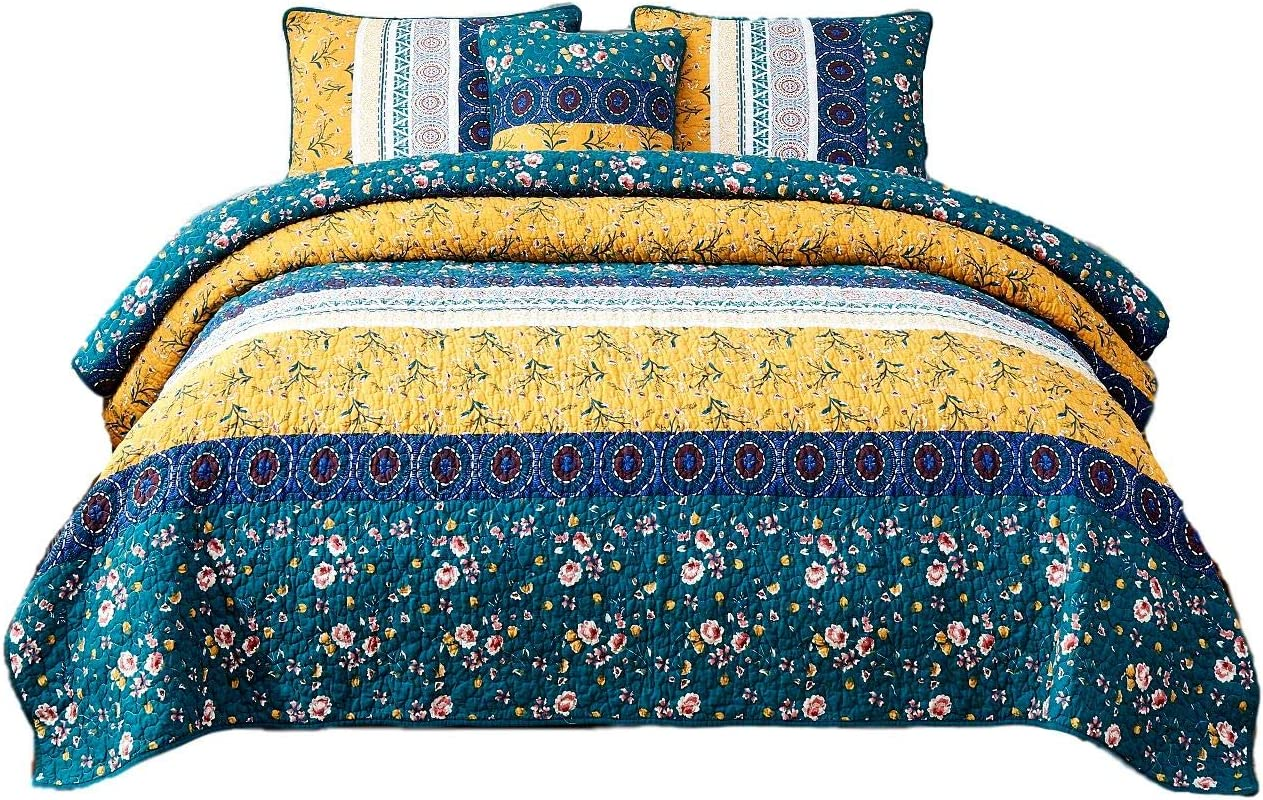 DaDa Bedding Bohemian Patchwork Bedspread - Cotton Bed of Wild Flowers Garden - Botanical Floral Quilted Coverlet Set - Bright Vibrant Yellow Blue Teal Green - Queen - 3-Pieces