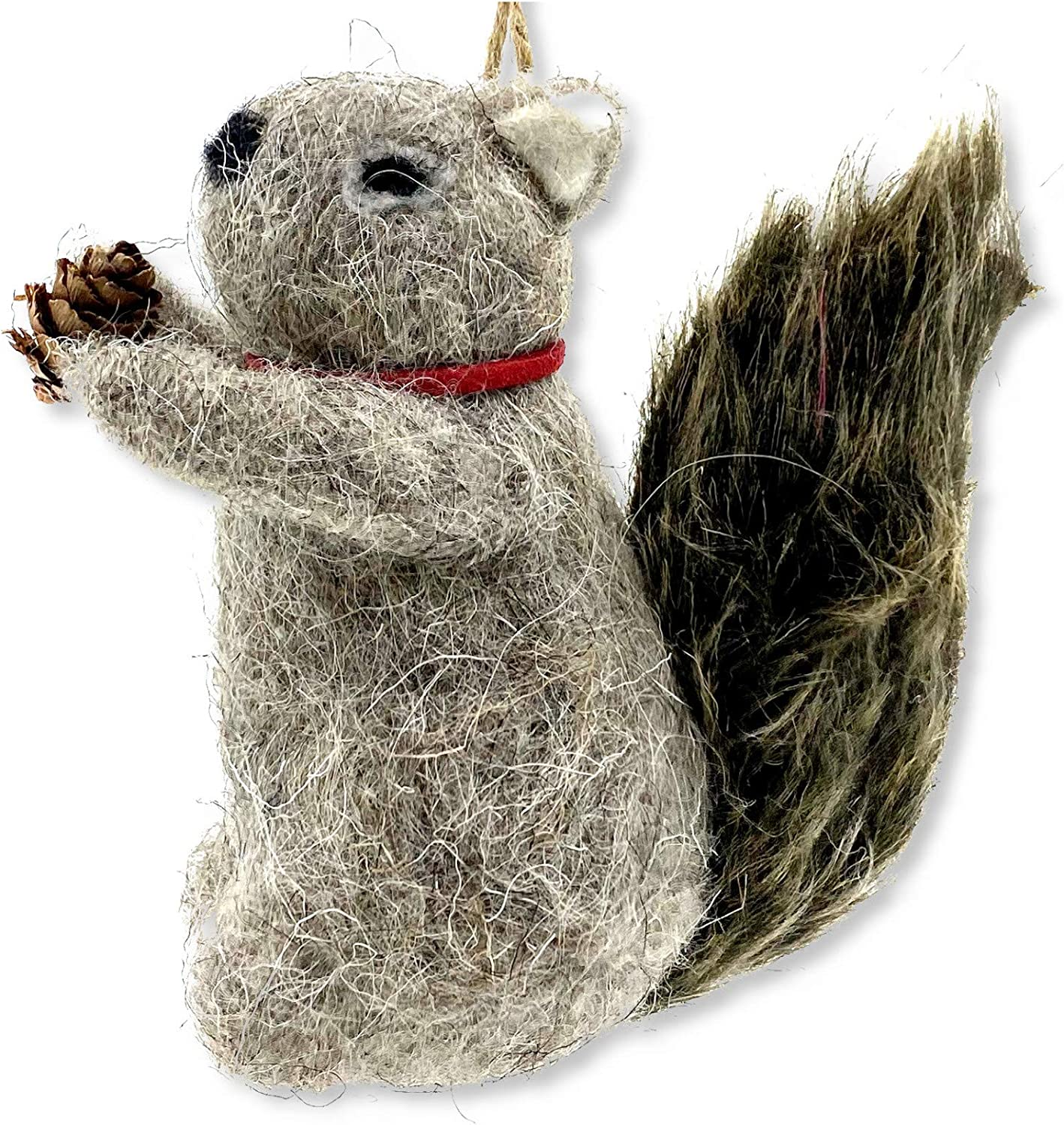 Wooly Squirrel Holiday Ornament - Christmas Tree Decoration