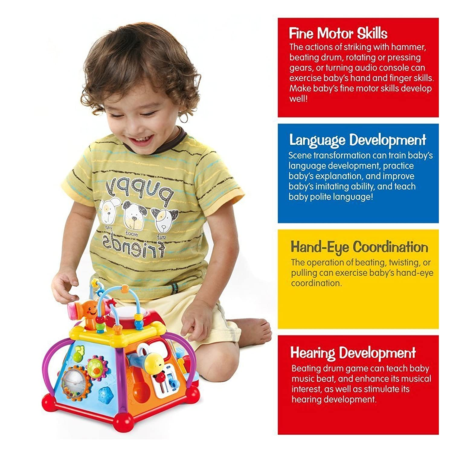 Amazon Huile Musical Activity Cube Toy Educational Game Play