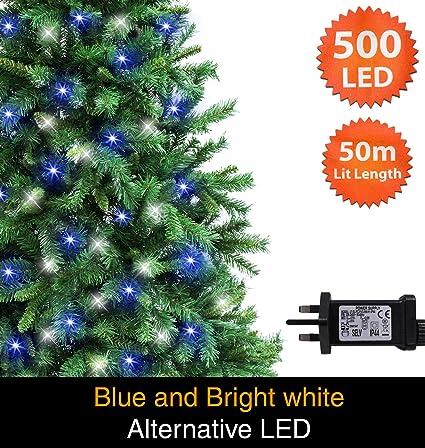 Fairy Lights 500 Led 50m Blue Bright White Alternative Indoor Outdoor Christmas Lights String Tree Lights Festivalmemory Timer Mains Powered 164ft Lit