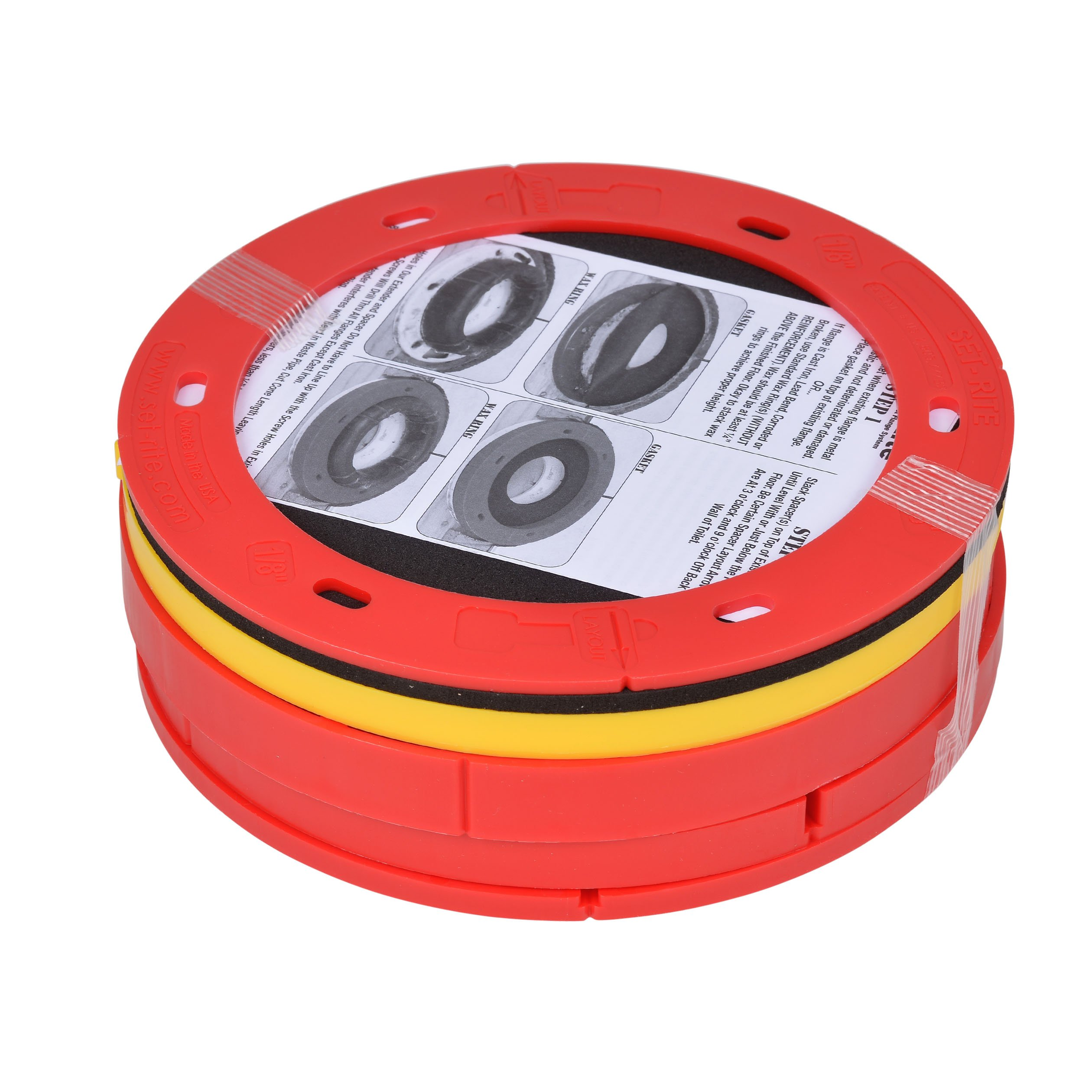 OATEY 43400 Set-Rite Toilet Flange Extension Kit, 1/4'' - 1-5/8'', Red, Yellow, used on PVC, ABS, Cast Iron and Stainless Steel by Set-Rite Products (Image #2)