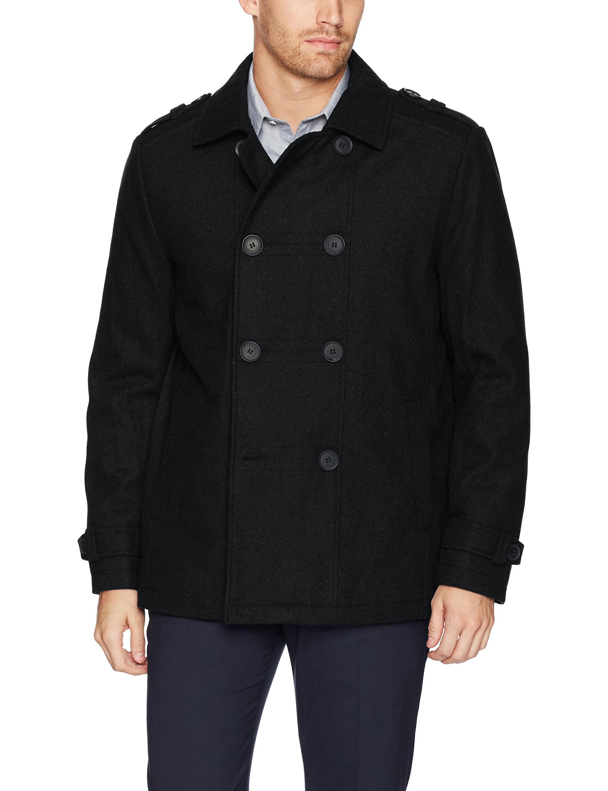 Kenneth Cole New York Men's Double Breasted Wool Jacket, Black, X-Large by Kenneth Cole New York