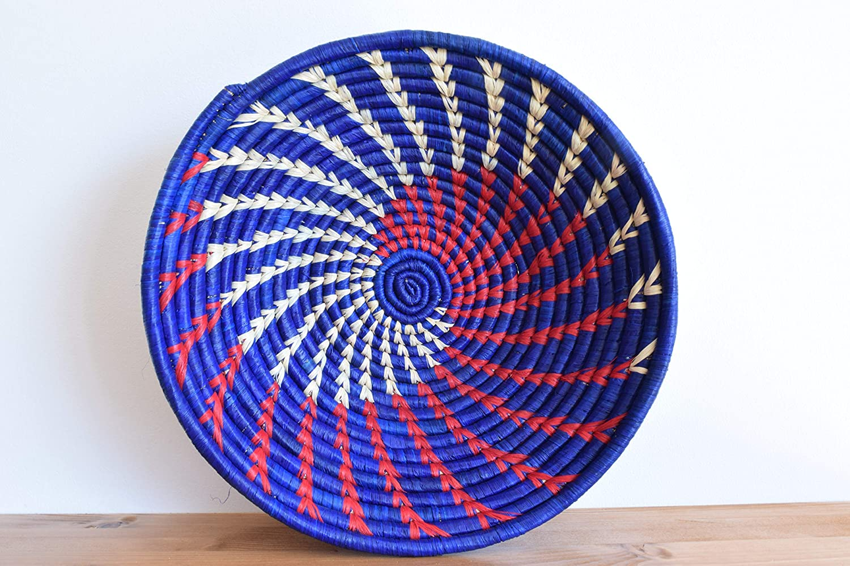 Handwoven African Basket - Bukedo & Raffia Bowl Basket - Decorative Bowl - Handmade in Uganda ~12'' White, Red, Blue
