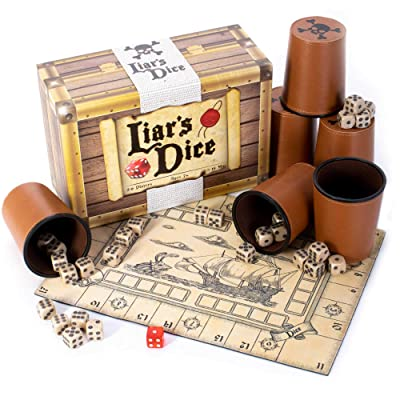Liar's Dice Game Set - Classic Family Bluffing Game - Treasure Chest Includes Six Professional Bicast Leather Dice Cups, 30 Custom Bullseye D6 Dice, Custom Bidding Die, Pirate Ship Game Mat: Toys & Games