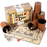 Liar's Dice Game Set - Classic Family Bluffing Game - Treasure Chest Includes Six Professional Bicast Leather Dice Cups…