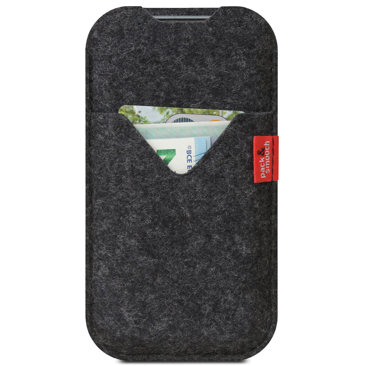 """Pack & Smooch Shetland iPhone X (5.8"""") Cover Case made with 100% Merino Wool Felt and Natural Vegetable Tanned Leather - Dark Grey"""