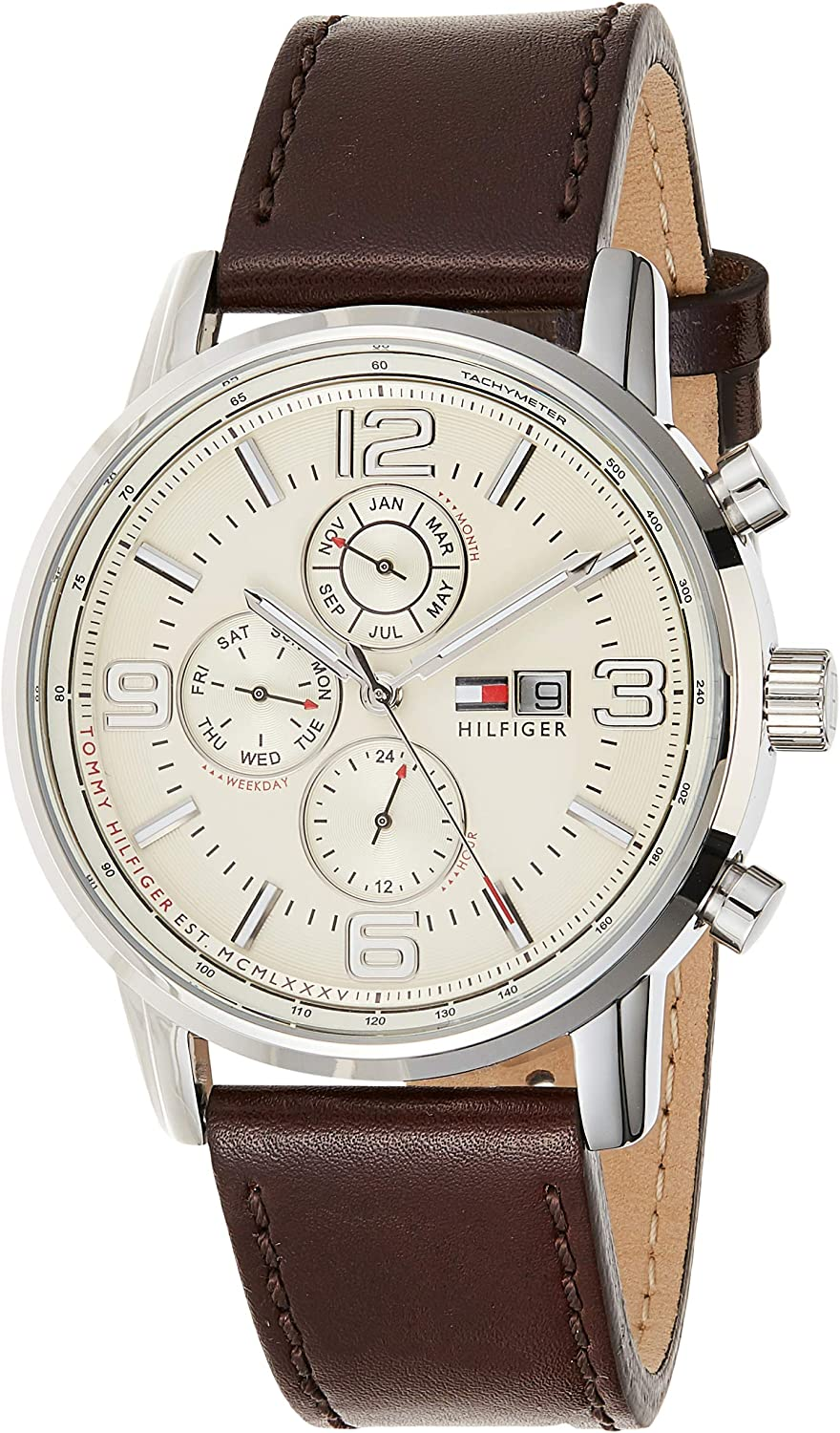 Tommy Hilfiger Men s 1710337 Stainless Steel Brown Leather Watch
