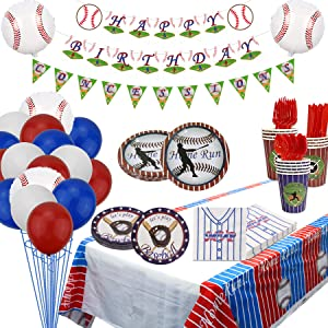 Baseball Party Supplies Sports Tableware Party Pack for Baseball Themed Birthday Party Including Plates, Cups, Napkins, Spoons, Knives, Forks, Tablecloth, Banner, Balloons Serves 20 (B)