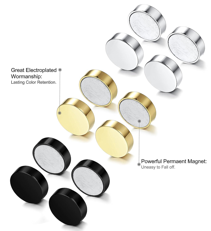 Amazon: Fibo Steel 3 Pairs Stainless Steel Round Magnetic Earrings For  Men Women No Piercing Clip On Stud Earrings, 10mm: Jewelry