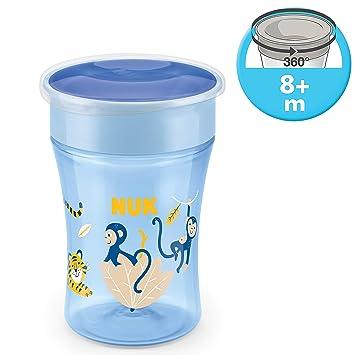 auslaufsicher abdichtende Silikonscheibe BPA-frei 8+ Monat 230ml Affe blau 360/° Trinkrand NUK 10255507 Magic Cup Trinklernbecher