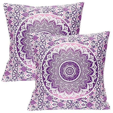 Stylo Culture Cojines Decorativos étnicos para la Cama Fundas de cojín Floral Impreso púrpura 40 X 40 Cuadrado de algodón Tradicional Mandala Ombre ...