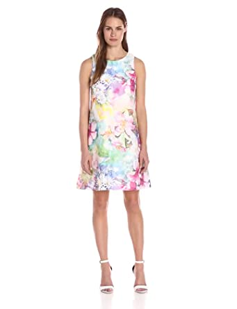 0bad8e1ab0ebba Donna Ricco Women's Sleeveless Floral Printed Fit and Flare Dress,  Aquarelle 6