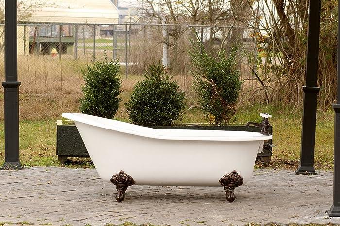 White 67u201d Antique Inspired Cast Iron Porcelain Clawfoot Bathtub 5.5u0027 Flat  Rim Slipper Bathtub Package Bronze Feet