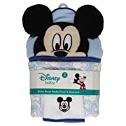 Disney Mickey Mouse Icons Hooded Bath Towel and Washcloth, Blue
