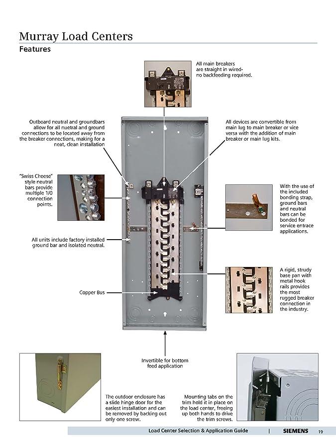 Murray LC4040B1200CU Load Center, 40 Space, 40 Circuit, 200A, Main on generator breaker, fuse breaker, power breaker, piggyback breaker,