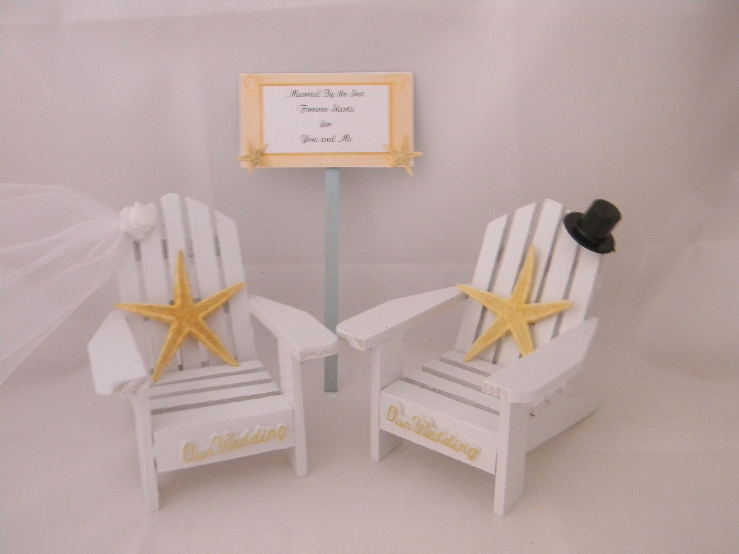 Wedding Reception Adirondack Chairs Beach Sign Starfish Cake Topper White