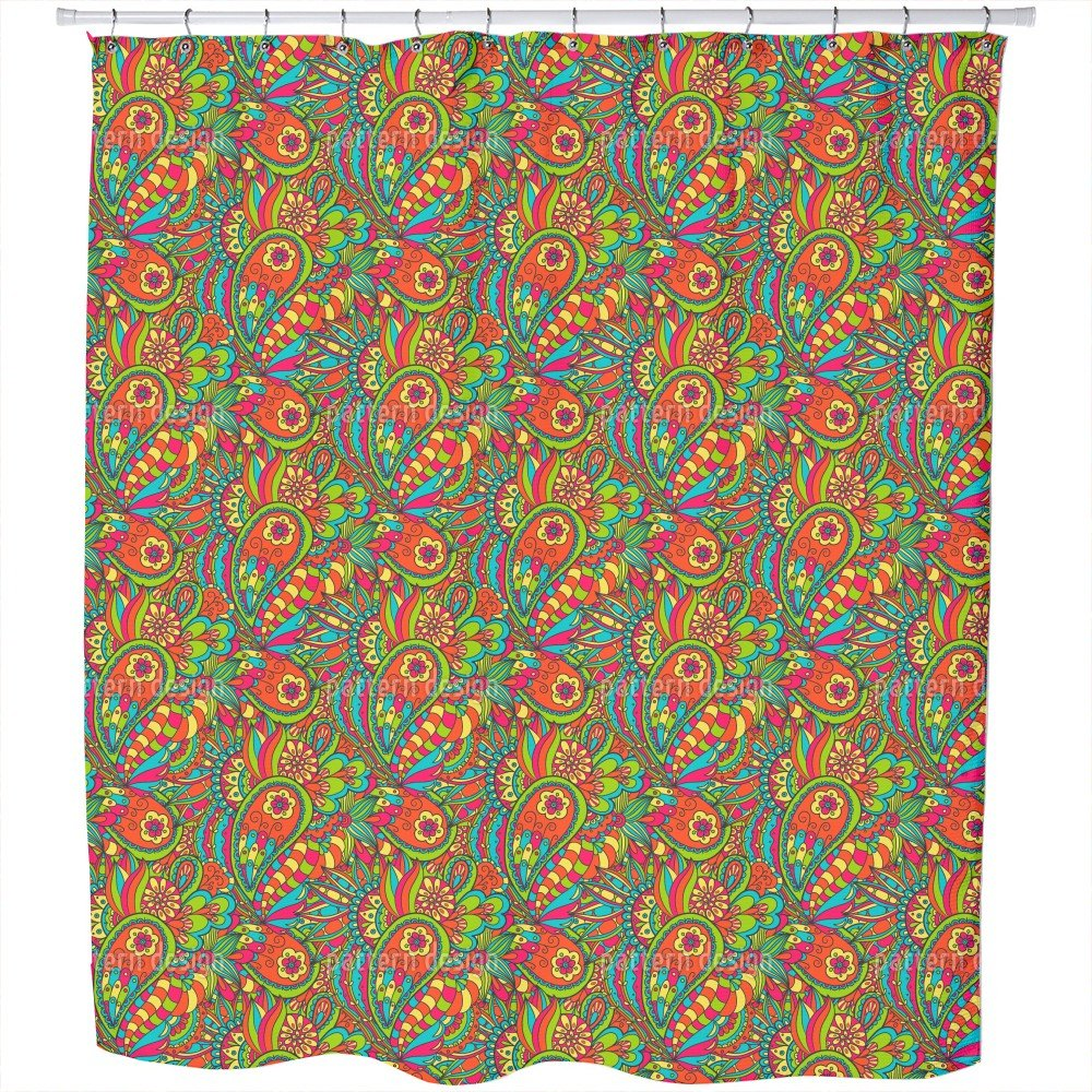 Uneekee Floral Paisley Doodle Shower Curtain: Large Waterproof Luxurious Bathroom Design Woven Fabric