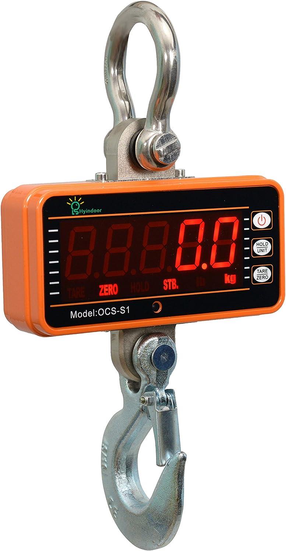 Orange,1000kg Bonvoisin Digitalkranwaage Industrielle Schwere Federungswaage mit Fernbedienung Tragbare Elektronische Waage 5 LED-Anzeige