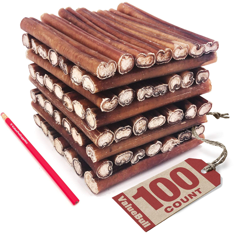 ValueBull Bully Sticks, Jumbo, 100 Count – All Natural Dog Chews, Rawhide Alternative