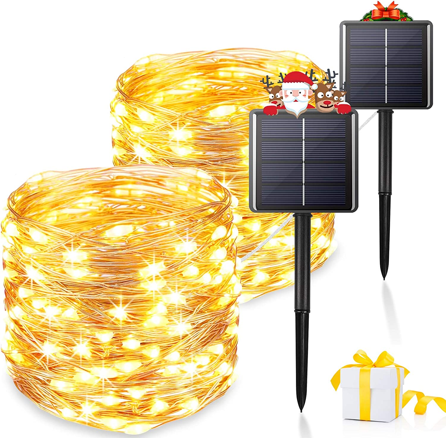 Solar String-Lights Outdoor, 2-Pack Upgraded 8 Modes&Total 480 LED Starbright Solar Light with 1200 Mah Battery Backup,157Ft Solar-Fairy-Light Outdoor for Garden Patio Decorations (Warm white-2pcs)