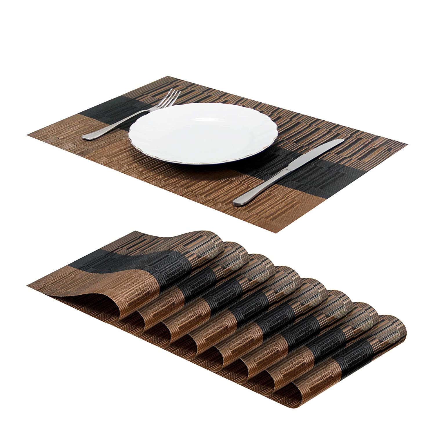 "Jujin 17.7"" Placemats Set of 8 Non-Slip Washable PVC Heat Resistant Table Mats for Dining Table Brown"