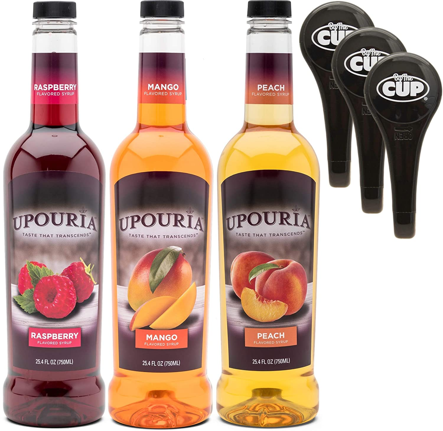 Upouria Raspberry, Mango, and Peach Coffee Syrup Flavoring Variety 750 mL Bottles with 3 - By The Cup Coffee Syrup Pumps