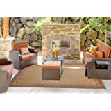 Gertmenian 48126 Furman Prime Contemporary Outdoor Furniture Rug, 8x10 Large, Light Brown