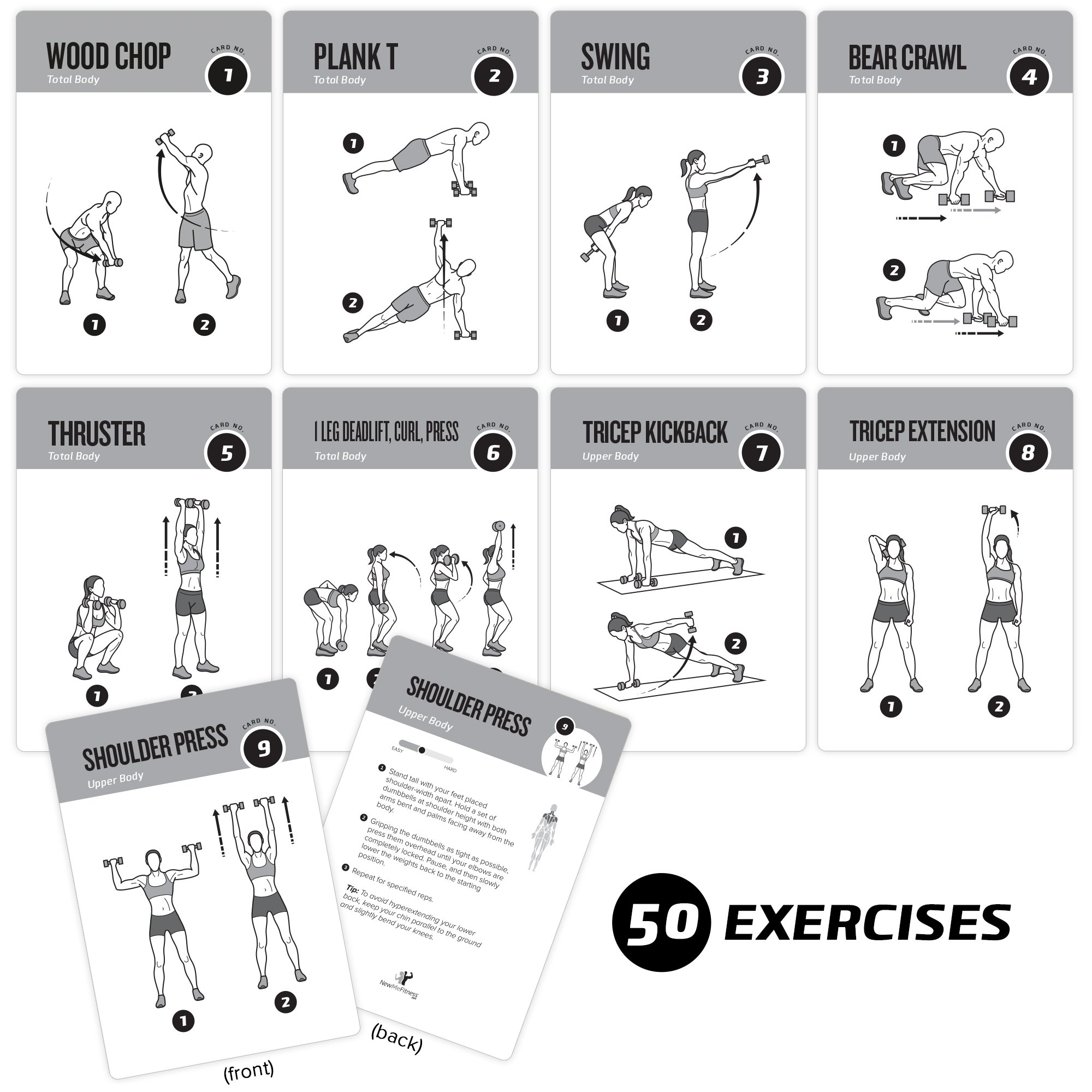 Exercise cards dumbbell home gym workouts strength