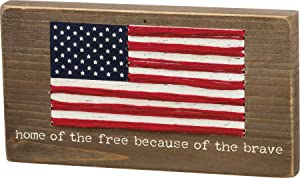 Primitives by Kathy Patriotic Sign, 6.5 x 3.5-Inches, Home of The Free