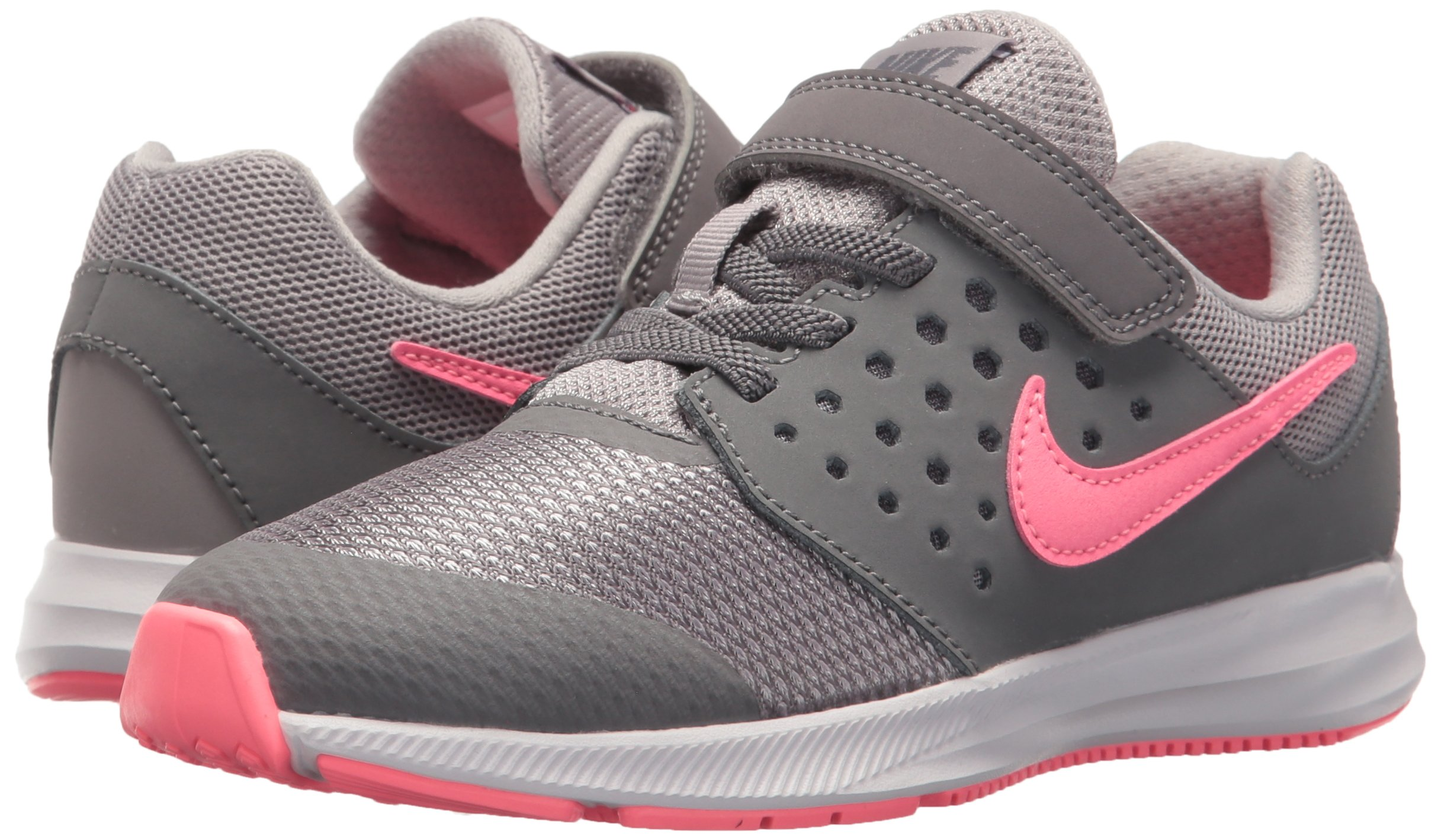 Nike Girls' Downshifter 7 (PSV) Running Shoe, Gunsmoke/Sunset Pulse-Atmosphere Grey, 2 M US Little Kid by Nike (Image #6)