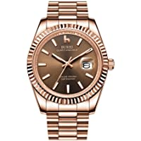 Men's Quartz Wrist Watch, Date Display, Sapphire Glass Lens with Two-Tone Stainless Steel Band