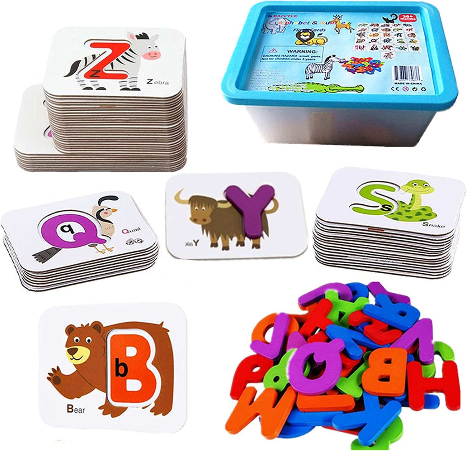 BAIVYLE Numbers and Alphabet Flash Cards for Kids - Preschool Learning Activities Wooden Animals Puzzle Flashcards Set-ABC Cards Educational Montessori Toys for Kids Boys Age 3 4 5 Years Old
