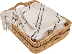 """StorageWorks Hand-Woven Jumbo Storage Baskets with Wooden Handles, Water Hyacinth Wicker Baskets for Organizing, 16.9"""" x 13"""" x 6"""", 2-Pack"""