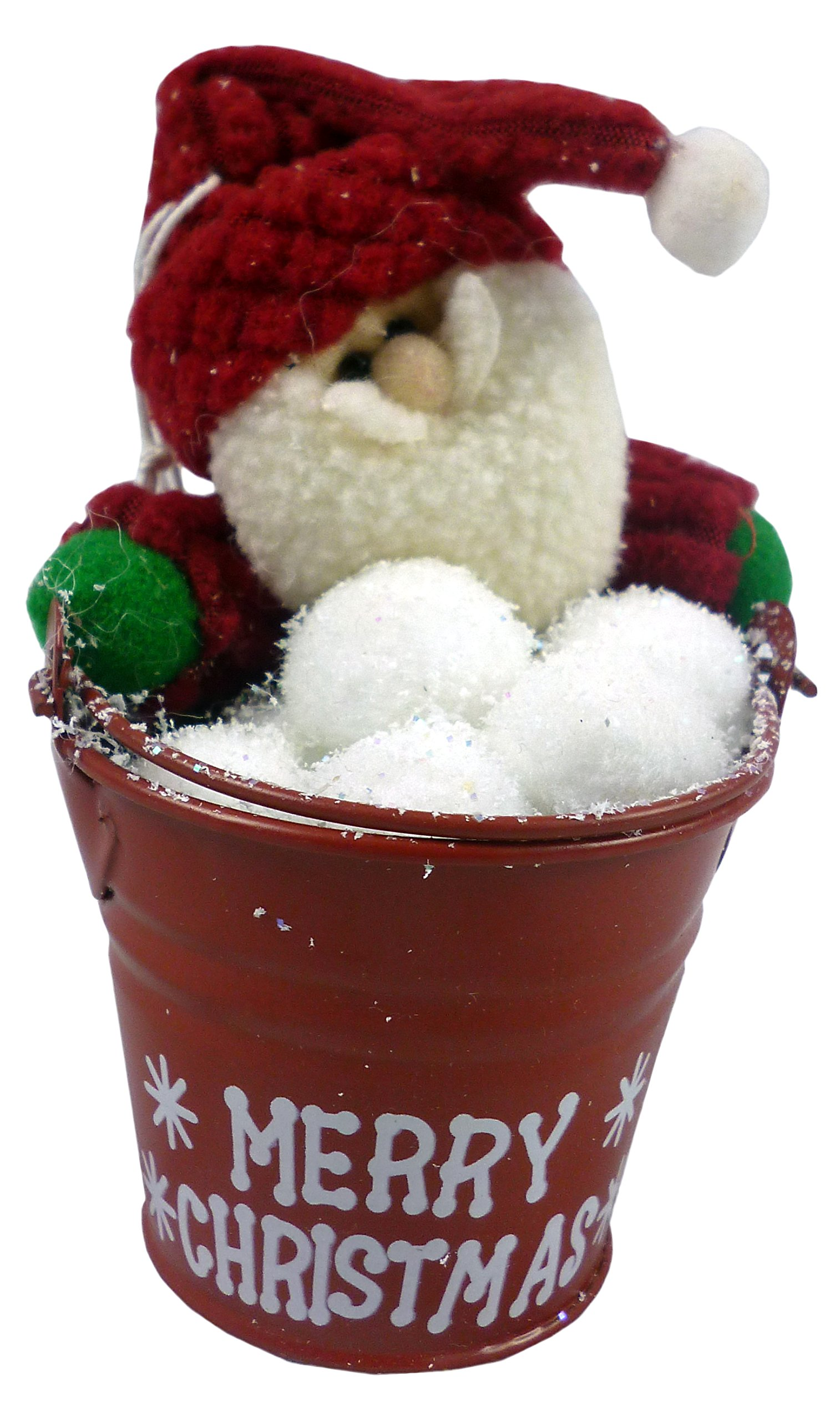 Christmas Concepts® 4 Inch Santa Pail Hanging Christmas Tree Decoration - Santa In Metal Bucket Christmas Decoration - Unique Christmas Decorations