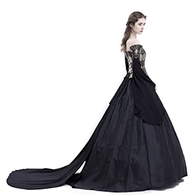 9af1d893d5 D-RoseBlooming Black Vintage Renaissance Wedding Dress Gothic Victorian  Ball Gowns at Amazon Women s Clothing store