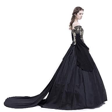 c8d44da0547 D-RoseBlooming Black Vintage Renaissance Wedding Dress Gothic Victorian  Ball Gowns at Amazon Women s Clothing store