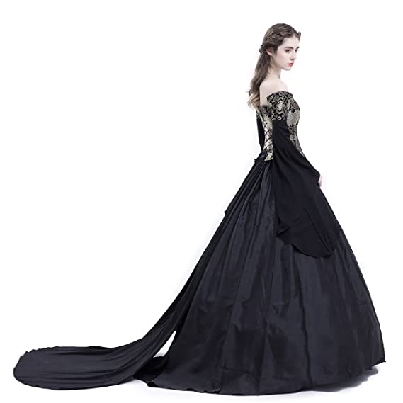 d8ad6323b5 D-RoseBlooming Black Vintage Renaissance Wedding Dress Gothic Victorian  Ball Gowns at Amazon Women s Clothing store