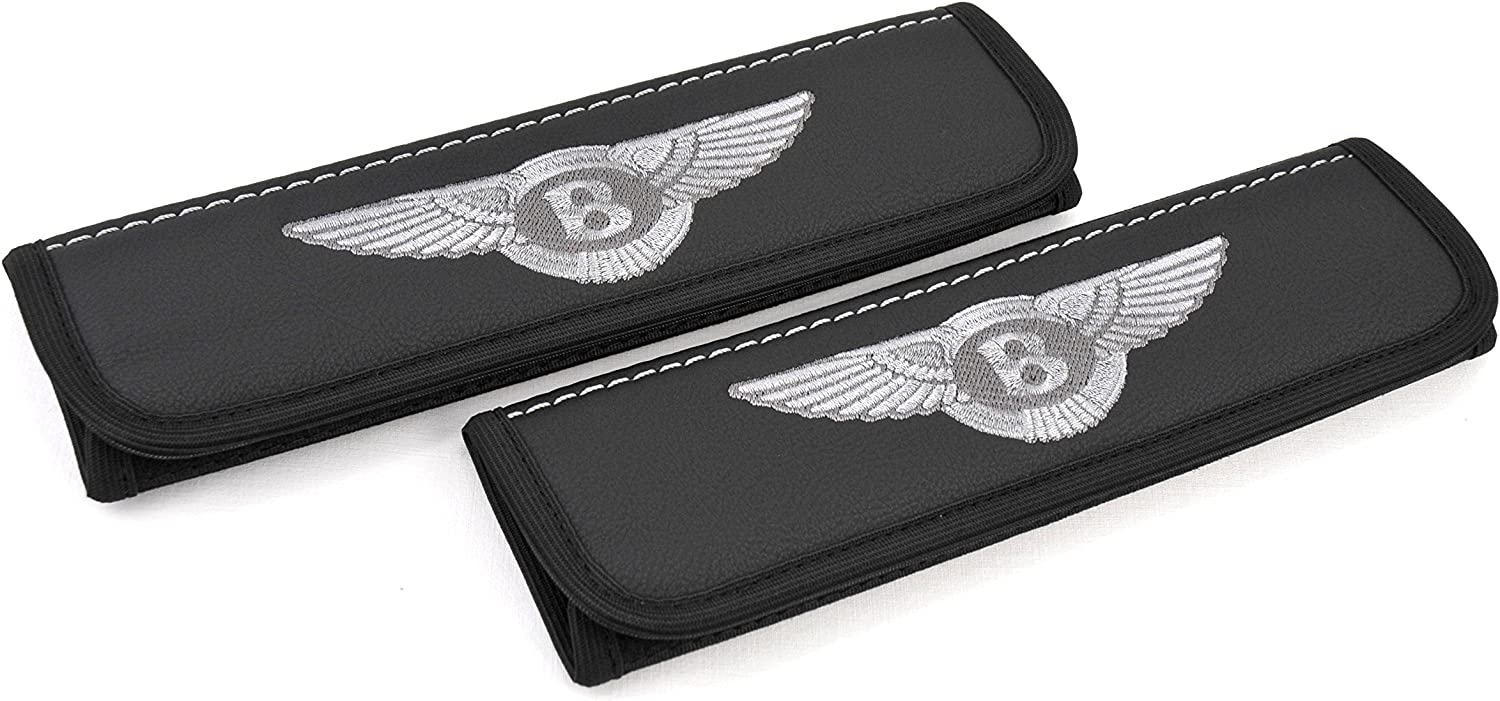 Car Interior Seat Belt Covers for Adults Black Shoulder Pads Seatbelt Cover pad with Embroidered Grey Emblem Accessories Compatible for Bentley Great idea for a Gift to The Driver! 2 pcs