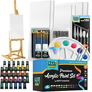 KEFF Creations Complete Acrylic Paint Kit- 54 Piece Professional Artist Painting Supplies Set, Art Painting, 24 Acrylic Paint Tubes, Paintbrushes, Canvases and More-for Adults & Beginners