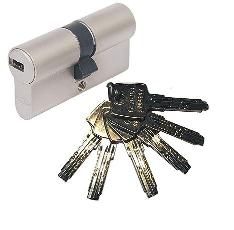 ABUS EC550 - Cerradura cilíndrica doble (30/30 mm, incluye 6 llaves)
