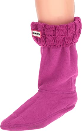 Hunter Womens 6 Stitch Cable Boot Sock - Short - Pink -