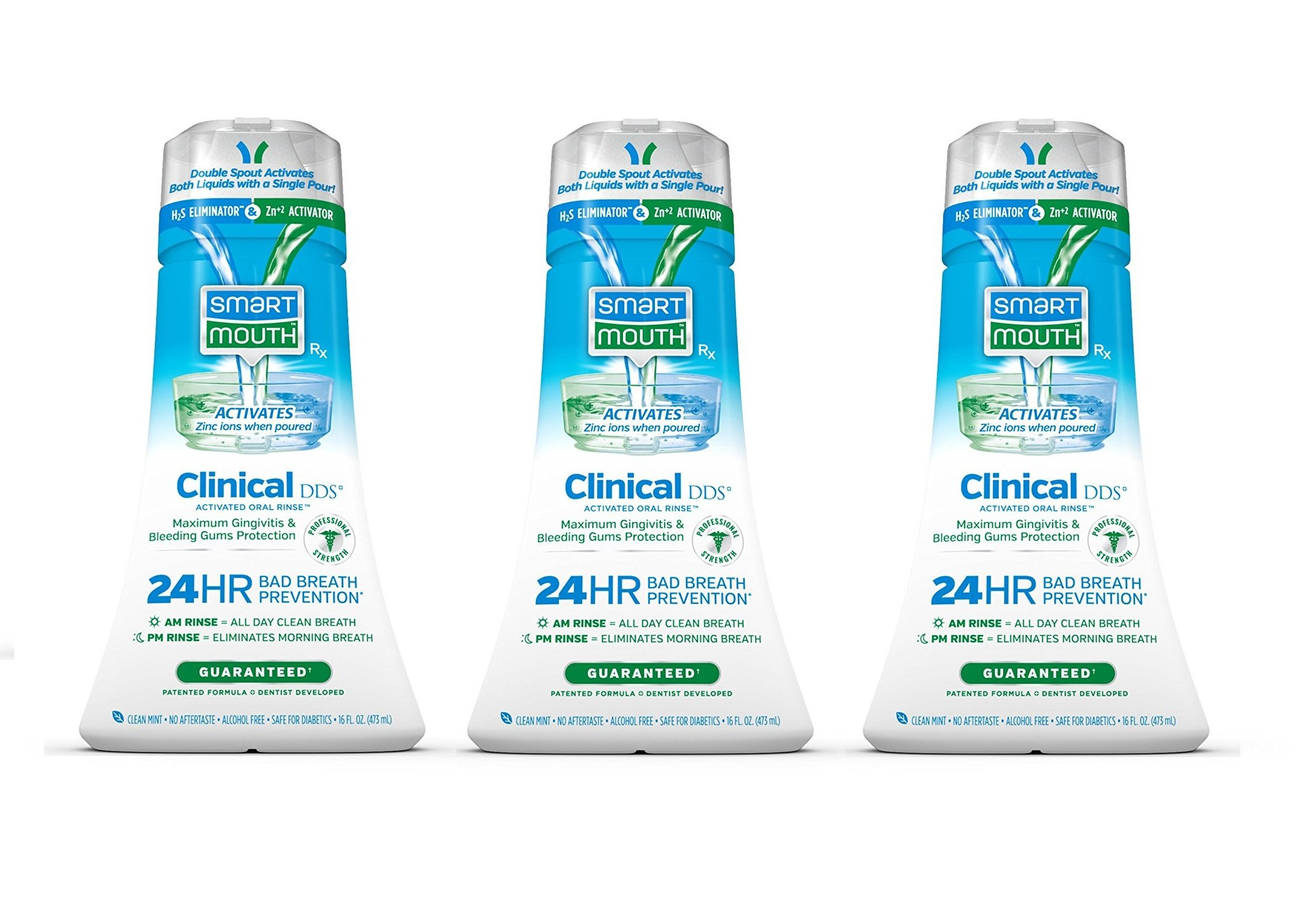 SmartMouth Clinical DDS Oral Rinse for the Treatment of Bad Breath and Protection From Gingivitis and Gum Disease, 16 ounce, 3 pack