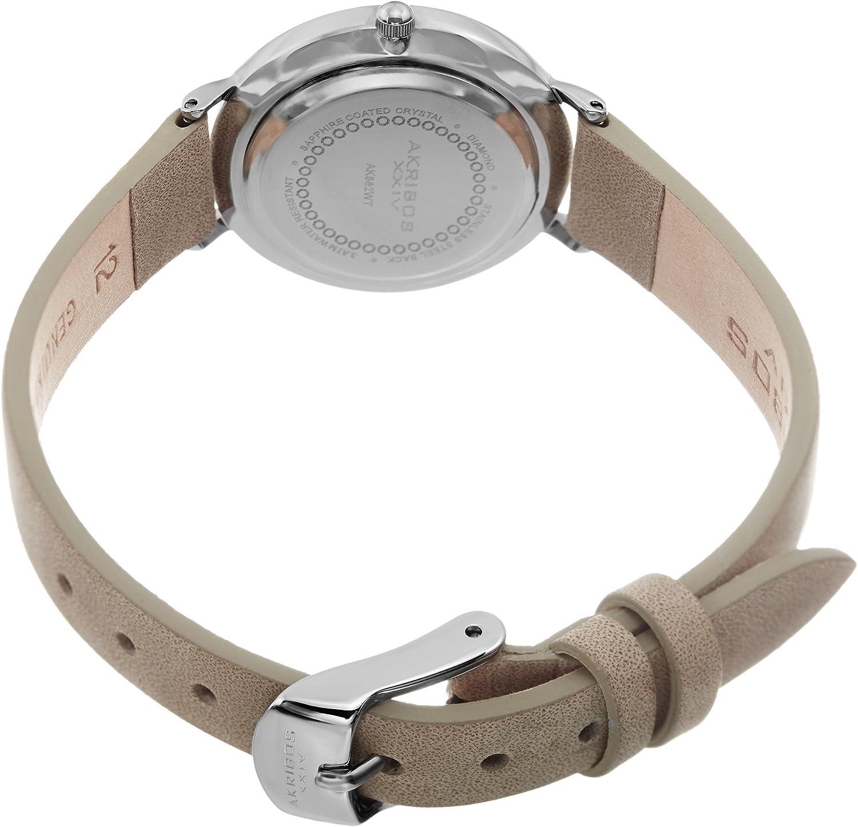 Akribos XXIV Women's Skinny Watch - 12 Genuine Diamond Markers on Genuine Leather Strap - AK882 White