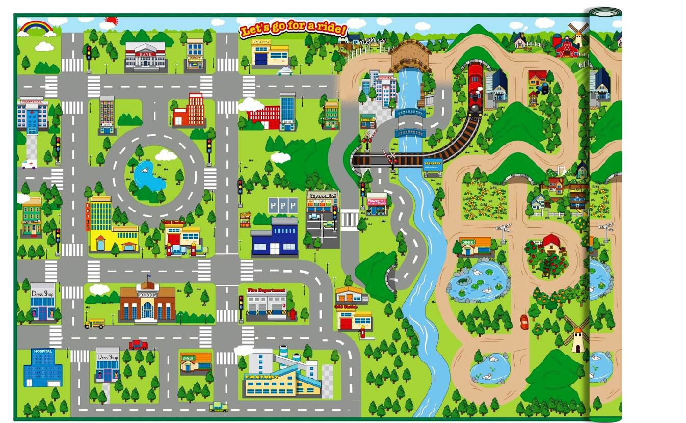 Giant 172cm x 120cm Kids City Cars Playmat EVA Foam Mat Road Map WIPE CLEAN