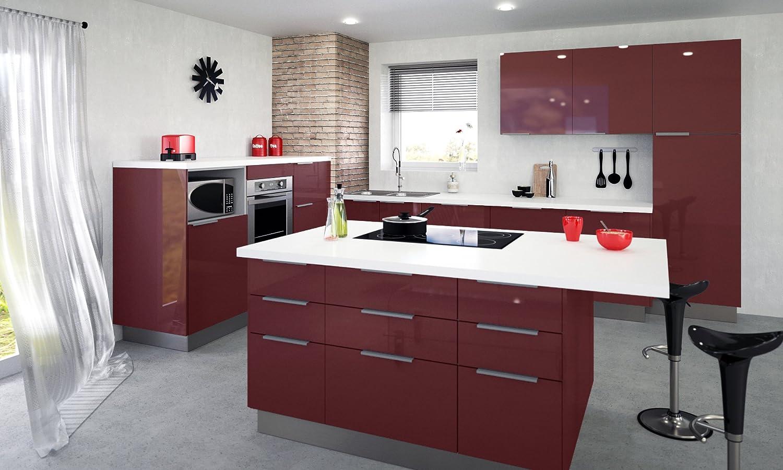 Color Burdeos 40 x 52 x 83 cm Berlioz Creations CT4BD Mueble bajo de Cocina con 3 cajones
