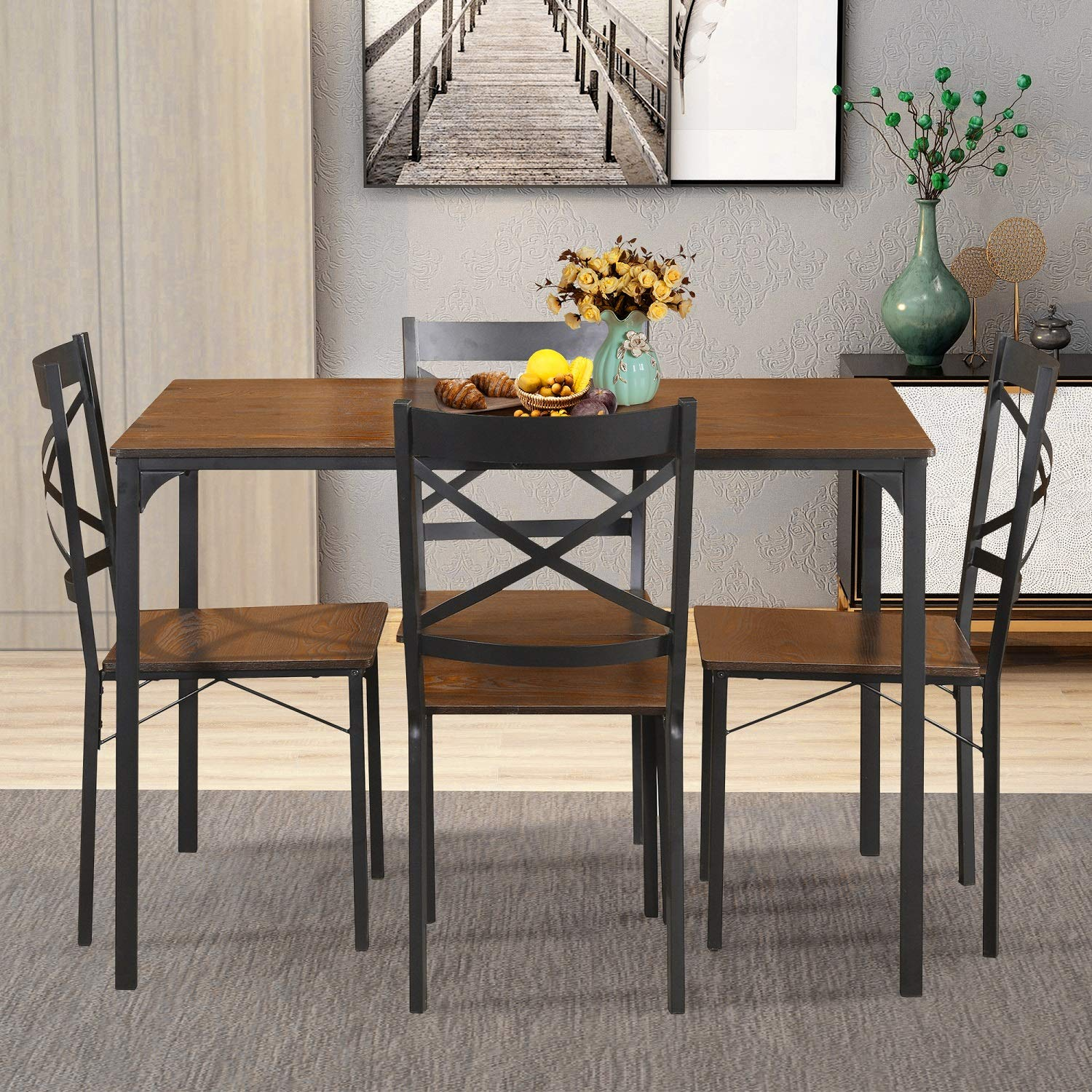 Lentia 5 Piece Dining Table Set Vintage Wood Top Home Kitchen Table With 4 Chairs Wood And Metal Dining Room Breakfast Modern Furniture Dark Brown Amazon In Home Kitchen