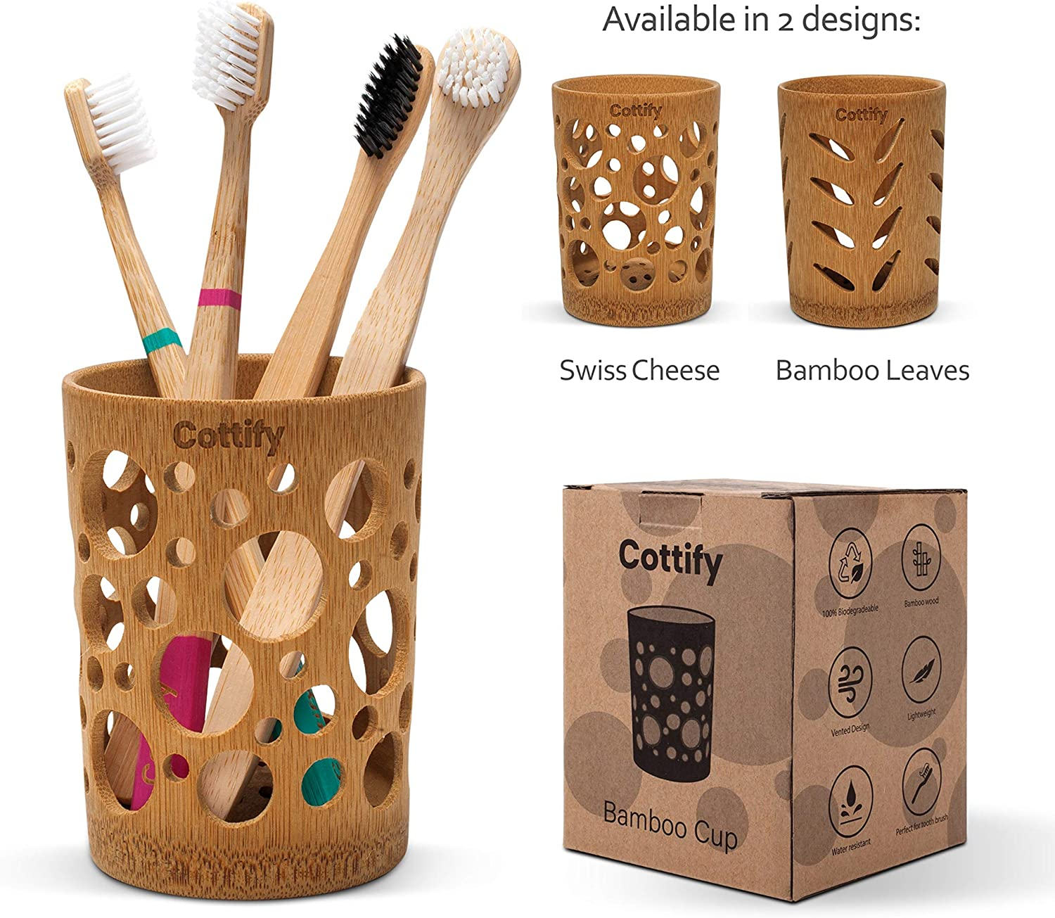 Bamboo Toothbrush Holder StandSmall Quick Drying Modern Holders for Bathroom