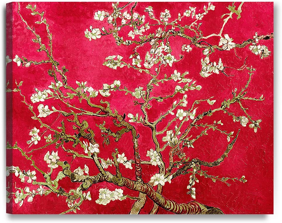 DECORARTS- Red Almond Blossom Tree, Vincent Van Gogh Art Reproduction, Giclee Print on 100% Cotton Canvas for Home Decor and Wall Decor 24x30